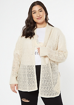 Plus Tan Dolman Sleeve Open Stitch Cardigan