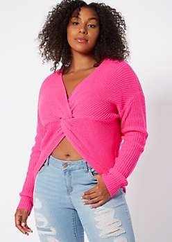 Plus Neon Fuchsia Knotted Reversible Sweater