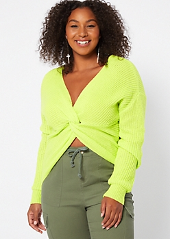Plus Neon Green Knotted Reversible Sweater