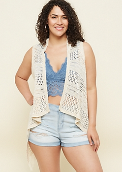 Plus Cream Fringed Open Knit Vest