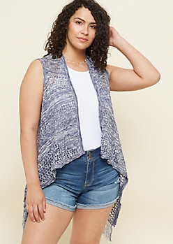 Plus Navy Fringed Open Knit Vest