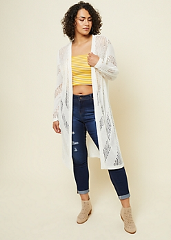 Plus Ivory Pointelle Knit Maxi Cardigan