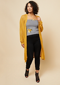 Plus Dark Yellow Pointelle Knit Maxi Cardigan