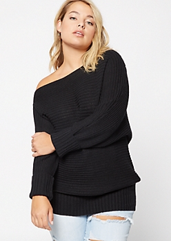 Plus Black Boat Neck On-Off Shoulder Sweater