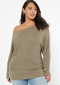 Plus Olive Boat Neck On-Off Shoulder Sweater