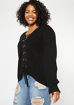 Plus Black Lace Up Front Sweater