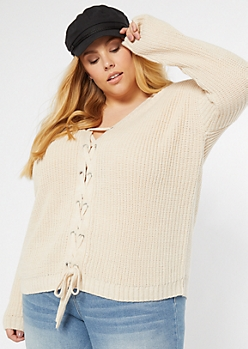Plus Ivory Lace Up Front Sweater