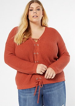 Plus Burnt Orange Lace Up Front Sweater