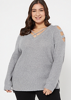 Plus Gray Marled Waffle Knit Caged Sweater