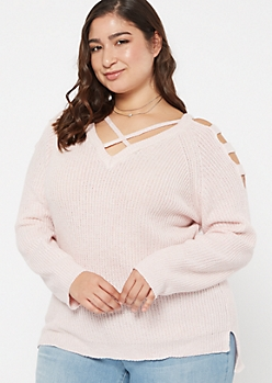 Plus Pink Marled Waffle Knit Caged Sweater