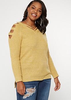 Plus Mustard Marled Waffle Knit Caged Sweater
