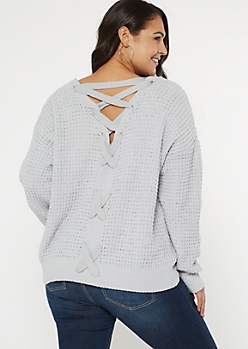 Plus Pale Blue Chenille V Lace Up Back Sweater
