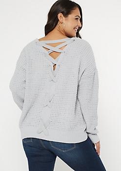 Plus Pale Blue Chenille V Lace Up Back Sweater