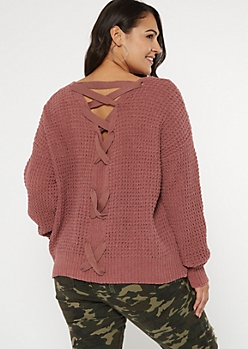 Plus Mauve Chenille V Lace Up Back Sweater