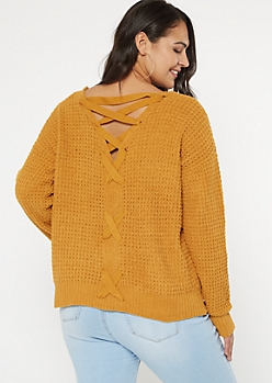 Plus Mustard Chenille V Lace Up Back Sweater