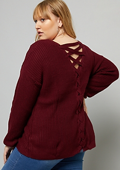 Plus Burgundy Lace Up Back V Neck Knit Sweater