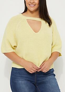 Plus Yellow Marled Keyhole Crop Sweater