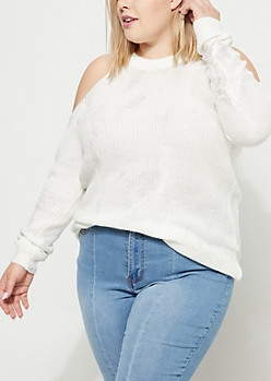 Plus White Metallic Distressed Cold Shoulder Sweater
