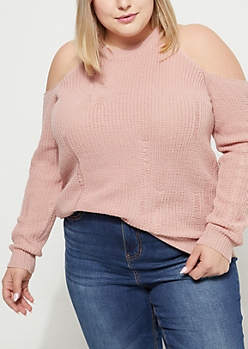 Plus Pink Distressed Cold Shoulder Sweater