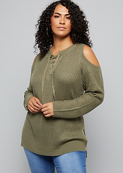 Plus Olive Cold Shoulder Lace Up Sweater