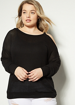 Plus Black Single Cold Shoulder Sweater