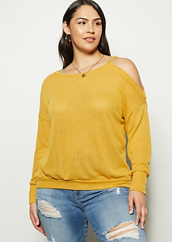 Plus Mustard Single Cold Shoulder Sweater