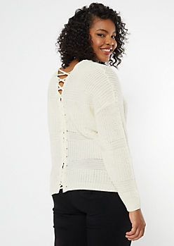 Plus Ivory Lace Up Back Waffle Knit Sweater