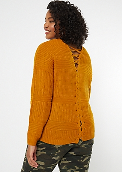 Plus Mustard Lace Up Back Waffle Knit Sweater