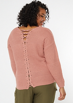 Plus Pink Lace Up Back Waffle Knit Sweater
