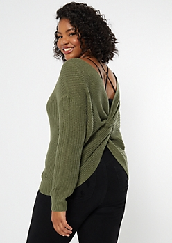 Plus Olive Knotted Reversible Sweater