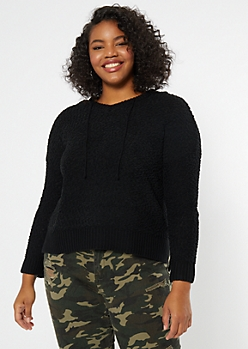 Plus Black Popcorn Knit High Low Hoodie