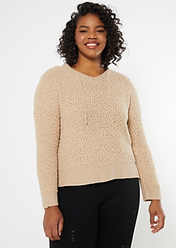 Plus Taupe Popcorn Knit High Low Hoodie