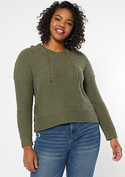 Plus Olive Popcorn Knit High Low Hoodie
