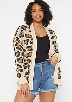 Plus Leopard Print Open Cardigan