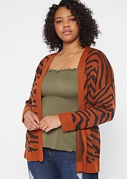 Plus Tiger Print Open Cardigan