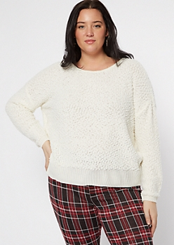 Plus Ivory Popcorn Knit Slouchy Sweater