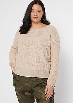 Plus Dusty Pink Popcorn Knit Slouchy Sweater