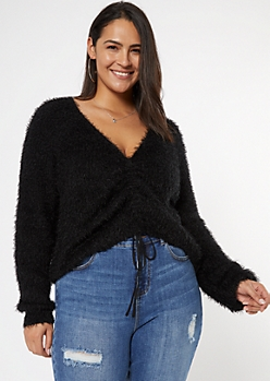 Plus Black Fluffy Knit Ruched Drawstring Sweater