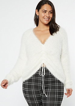 Plus White Fluffy Knit Ruched Drawstring Sweater