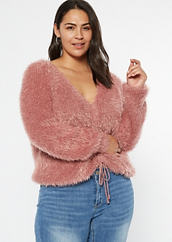 Plus Pink Fluffy Knit Ruched Drawstring Sweater