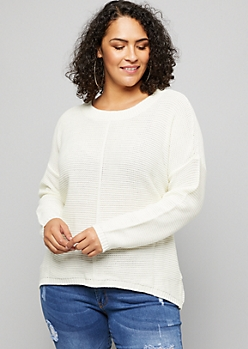 Plus White Front Seam Sweater