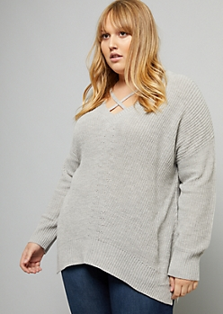 Plus Gray Crisscross V Neck High Low Sweater