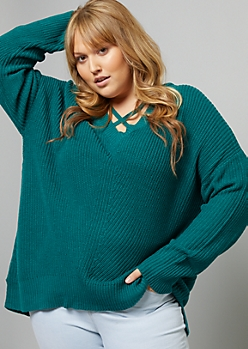 Plus Teal Crisscross V Neck High Low Sweater
