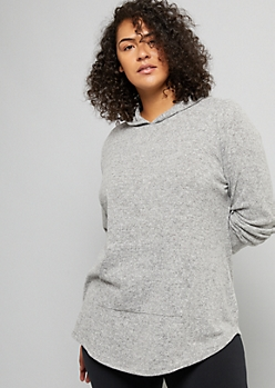 Plus Heather Gray Hacci Knit Oversized Hoodie