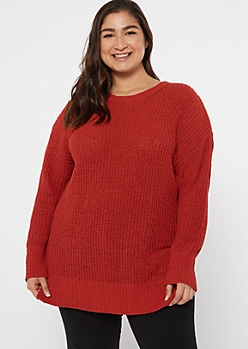 Plus Red Side Slit Chenille Tunic Sweater