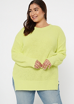 Plus Neon Green Side Slit Chenille Tunic Sweater