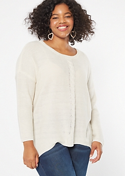 Plus Ivory Cable Front Scoop Neck Sweater