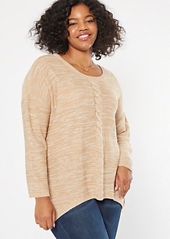 Plus Marled Oatmeal Cable Front Scoop Neck Sweater