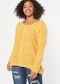 Plus Marled Mustard Cable Front Scoop Neck Sweater