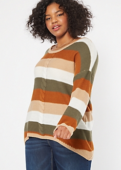 Plus Burnt Orange Striped Cable Front Scoop Neck Sweater